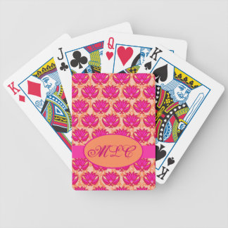 Fuchsia Pink Orange Art Nouveau Damask Monogram Bicycle Playing Cards