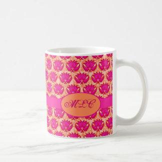 Fuchsia Pink Orange Art Nouveau Damask Monogram Classic White Coffee Mug