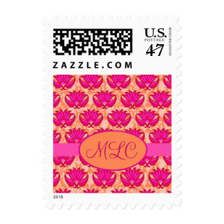 Fuchsia Pink Orange Art Nouveau Damask Monogram Postage
