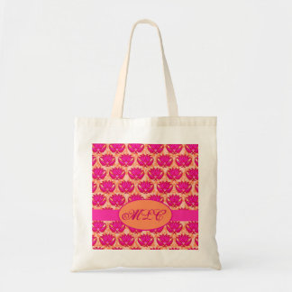 Fuchsia Pink Orange Art Nouveau Damask Monogram Tote Bag