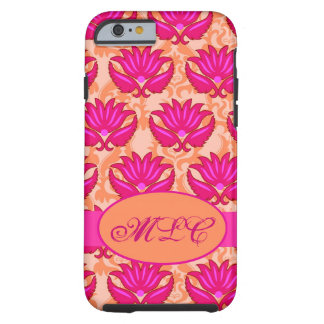 Fuchsia Pink Orange Art Nouveau Damask Monogram Tough iPhone 6 Case