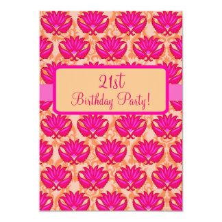 Fuchsia Pink Orange Damask 21st Birthday Party 5x7 Paper Invitation Card