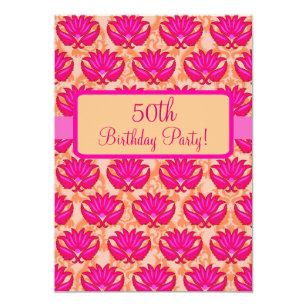 Zip line birthday invitations announcements zazzle fuchsia pink orange damask 50th birthday party card stopboris Gallery