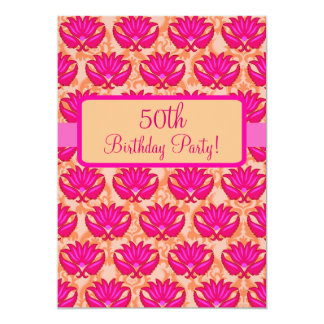 Fuchsia Pink Orange Damask 50th Birthday Party Card