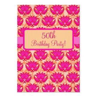 Fuchsia Pink Orange Damask 50th Birthday Party 5x7 Paper Invitation Card