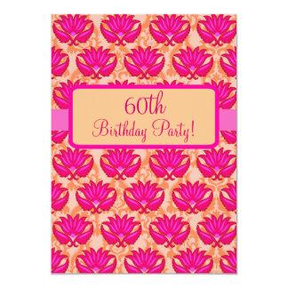 Fuchsia Pink Orange Damask 60th Birthday Party 5x7 Paper Invitation Card