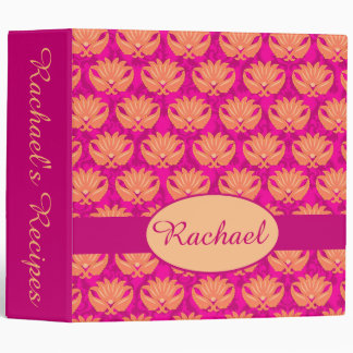 Fuchsia Pink Orange Damask Name Personalized Album 3 Ring Binder