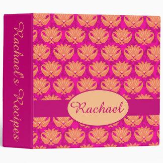 Fuchsia Pink Orange Damask Name Personalized Album 3 Ring Binder