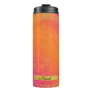 Fuchsia Pink Orange & Gold Indian Mandala Glam Thermal Tumbler