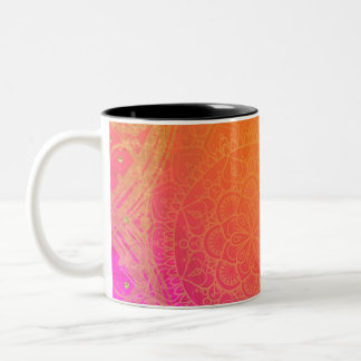 Fuchsia Pink Orange & Gold Indian Mandala Glam Two-Tone Coffee Mug
