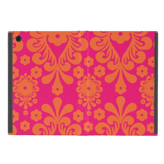 Fuchsia Pink Orange Vintage Damask Pattern Case For iPad Mini
