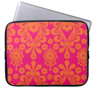 Fuchsia Pink Orange Vintage Damask Pattern Laptop Sleeve