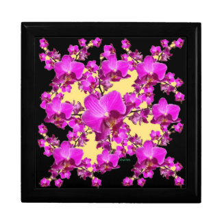 Fuchsia Pink Orchids Cream & Black Pattern Gifts Gift Box
