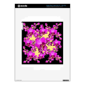 Fuchsia Pink Orchids Cream & Black Pattern Gifts Skin For iPad 3
