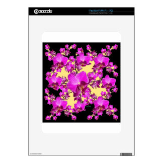 Fuchsia Pink Orchids Cream & Black Pattern Gifts Skin For The iPad