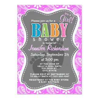 Fuchsia Pink Paisley; Floral Personalized Invites