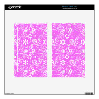 Fuchsia Pink Paisley Floral Decal For Kindle Fire