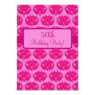 Fuchsia Pink Parisian Damask 50th Birthday Party 5x7 Paper Invitation Card