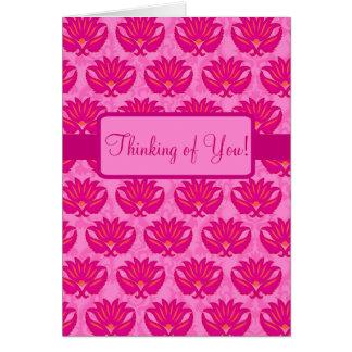 Fuchsia Pink Parisian Damask Thinking of You Card