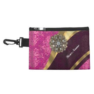 Fuchsia pink personalized pretty damask pattern accessory bag