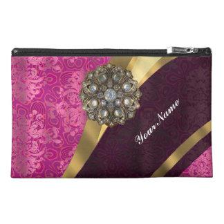 Fuchsia pink personalized pretty damask pattern travel accessory bag