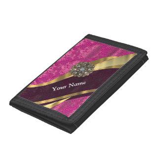 Fuchsia pink personalized pretty damask pattern tri-fold wallet