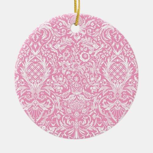 Fuchsia Pink Pineapple Victorian Vintage Damask Ceramic Ornament