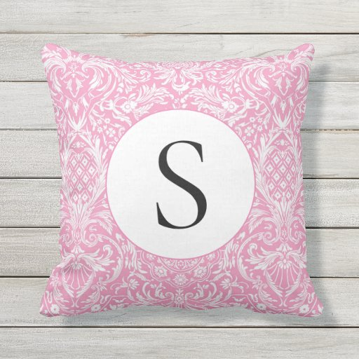 Fuchsia Pink Pineapple Victorian Vintage Damask Outdoor Pillow