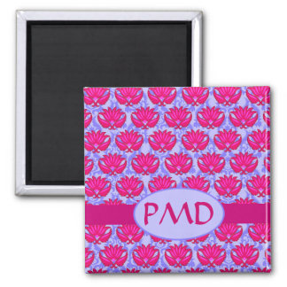 Fuchsia Pink Purple Art Nouveau Damask Monogram 2 Inch Square Magnet