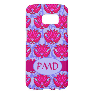Fuchsia Pink Purple Art Nouveau Damask Monogram Samsung Galaxy S7 Case