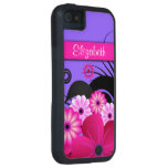 Fuchsia Pink Purple Floral iPhone5 5S Tough Case Cover For iPhone 5/5S