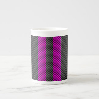 Fuchsia Pink Racing Stripes in Carbon Fiber Style Tea Cup