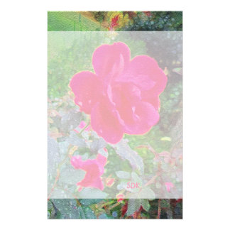 Fuchsia Pink Rose Flower in Bloom with Water Dew Stationery