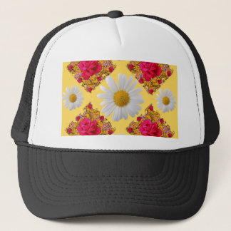 FUCHSIA PINK ROSE & WHITE DAISIES YELLOW GARDEN TRUCKER HAT