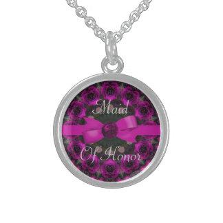 Fuchsia Pink Roses Mandala Wedding Sterling Silver Necklace