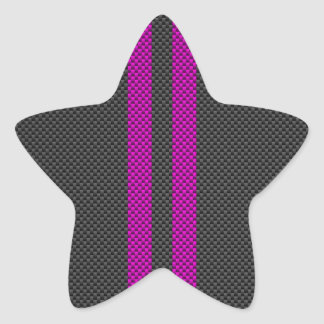 Fuchsia Pink Stripes in Carbon Fiber Style Star Sticker