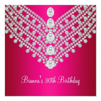 Fuchsia Pink White Diamond Jewel 30th Birthday Card