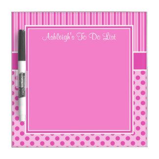 Fuchsia, Pink, White To Do List Dry Erase Board