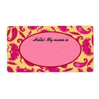 Fuchsia Pink Yellow Paisley Name Tag Label