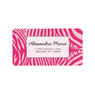 Fuchsia & Pink Zebra Skin Change Background Color Label