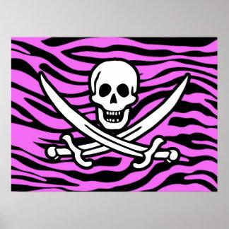 Fuchsia Pink Zebra Stripes Animal Print; Pirate
