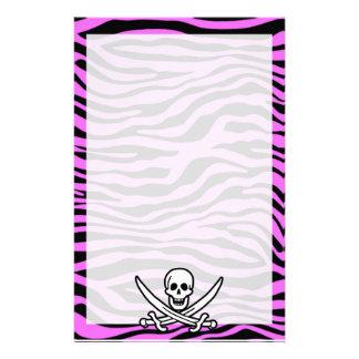 Fuchsia Pink Zebra Stripes Animal Print Pirate Stationery Paper