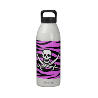 Fuchsia Pink Zebra Stripes Animal Print Pirate Reusable Water Bottle