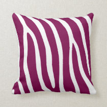 Fuchsia Pink Zebra Stripes Throw Pillow