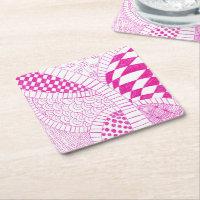 Fuchsia Pink Zen Doodle Drawing Coaster