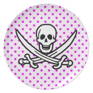 Fuchsia Polka Dots; Jolly Roger Plates