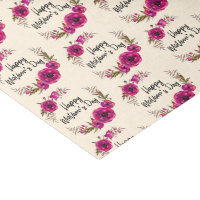 Fuchsia Poppies Floral Wreath Happy Mother's Day Tissue Paper