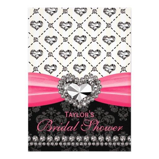 Fuchsia PRINTED Diamond Bridal Shower Invites
