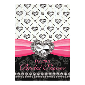 "Fuchsia PRINTED Diamond Bridal Shower Invites 5"" X 7"" Invitation Card"