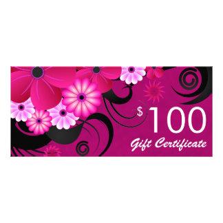 Fuchsia Purple Elegant Custom $100 Gift Voucher Rack Card